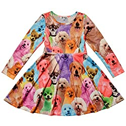 Jxstar Kids Girls' Casual Dog Printed Clothing Skater Long Sleeve Dress Dog