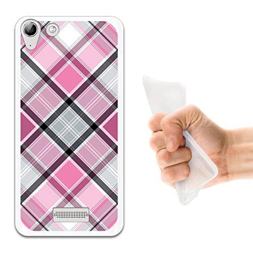 WoowCase Wiko Selfy 4G Hülle, Handyhülle Silikon für [ Wiko Selfy 4G ] Rhombus Pink Schottenkaro Handytasche Handy Cover Case Schutzhülle Flexible TPU - Transparent