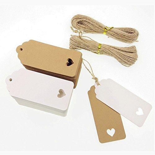 Jzk 100 bianco + 100 marrone targhette carta kraft etichetta regalo + 40m spago corda juta, cartoncini cartellini per bomboniere matrimonio regalo compleanno