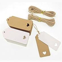 JZK 100 Blanco & 100 marrón corazón papel kraft etiquetas regalo + 40m cáñamo cuerda, etiqueta precio etiqueta equipaje etiquetas cartón para boda fiesta favores diy marcador