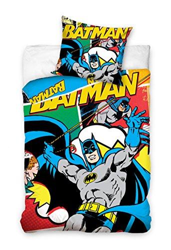 Maxi & Mini - Set copripiumino 100% cotone, motivo: fumetto Batman, 140 x 200 cm, con federa per cuscino 70 x 80 cm