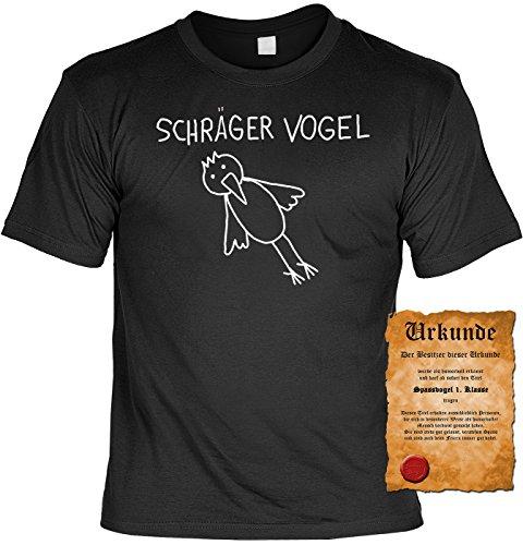 T-Shirt Schräger Vogel Geburtstag Fun Shirt Geschenk geil bedruckt mit Spassvogel Urkunde Schwarz