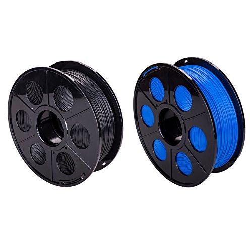 2 Pack 3D Drucker Printer PLA Filament 1,75mm 1kg mit Spule Rolle Patrone Weiß Oder Schwarz mit Eine Anderer Farbe (Blau+Schwarz)
