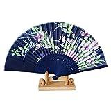 99AMZ Plegable Abanico de Mano Abanicos de Seda de Bambú abanicos Flor Impresos Madera Colores Ventilador Plegable Estilo Chino Abanicos de bambú ahuecados para la decoración de Bodas (E)