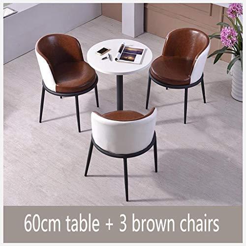 Gaohh Einfache Und Moderne Kombination Aus Tisch Und Stuhl Verkaufsabteilung Verhandlungstisch Empfangstisch Büro Couchtisch Runder Tisch Esstisch Leder Durchmesser 60 cm Lounge -