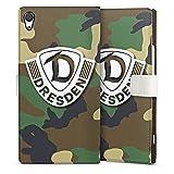 Sony Xperia XA 1 Ultra Tasche Leder Flip Case Hülle Sg Dynamo Dresden Logo Camouflage