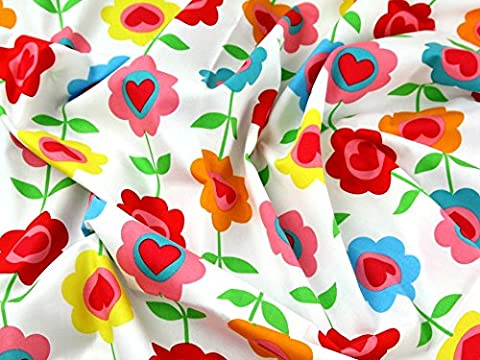 Funky Flower Hearts Print Cotton Poplin Dress Fabric White Multi - per metre