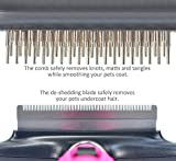 Fellwechsel Fellpflege Hundebürste 2 in 1 Unterwolle Bürste und Fell-Entfilzer mit doppelte Kammreihe Fur Fellwechsels kleine, mittelgroße und große Hunde und Katzen mit kurzem oder langem Fell. Reduziert Haarausfall drastisch in nur wenigen Minuten - 3