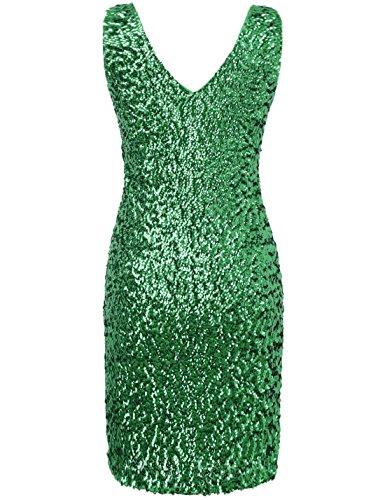 PrettyGuide Damen reizvoller tiefer V-Ausschnitt Pailletten Glitzer Bodycon Stretchy Minipartei-Kleid grüne