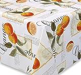 Wachstuch Tischdecke Gartentischdecke, Meterware abwischbar, glatt Orangen, Größe wählbar (120 x 140 cm)