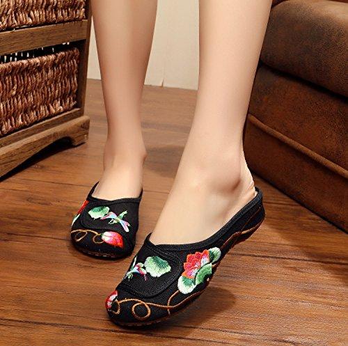ZLL Feine gestickte Schuhe, Sehnensohle, ethnischer Stil, weiblicher Flip Flop, Mode, bequem, Sandalen Black