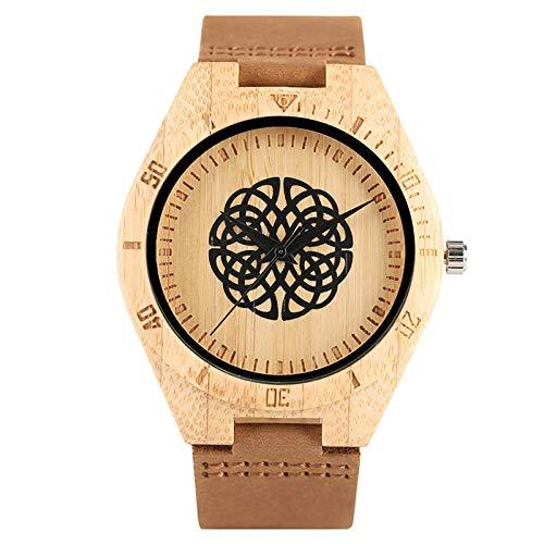 CJYSB Bambus Holz Uhren für Männer Frauen handgemachte Armreif Armbanduhren Lederband Strap