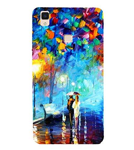 Fiobs Designer Back Case Cover for Vivo V3 Max (Girl Boy Rain Water Bench light Colourful)