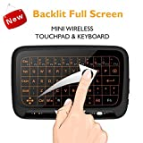 Mini Wirelesse Beleuchtete Tastatur und vollem Touchpad Maus Combo, 2.4Ghz wiederaufladbare Handheld Kabellose Fernbedienung (QWERTY) Android Keyboard für Google TV Box, Xbox 360, Raspberry Pi, HTPC, IPTV, Windows PC,Mac, Linux, Himbeer Pi, PS3, PS4