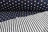 Qualitativ hochwertiger Double Face Bio Jacquard Jersey Stoff mit Sternen auf Blau, Alb Stoffe, als Meterware mit Öko-Tex Zertifizierung zum kreativen Nähen von Kinder Kleidung, 50 cm