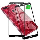 LAGUI Huawei Y7 Pro 2018 Protector de Pantalla + Funda, Cobertura Completa Cristal Templado Película, y Ultrafino Carcasa Panel Trasero de Vidrio, 1 Funda Rojo +2 Protector de Vidrio Negro.