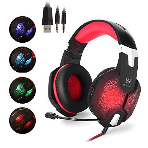 EasySMX G1000 Auriculares de Juegos para PC con Micrófono, 3.5mm Jack Profesional para Videojuegos PC, MAC y Móvil, Gaming Headset con Cable, Variada LED Luz de Respiración y Control del Volumen y una Tocla-Mute