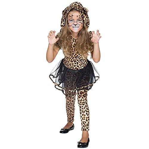 Rubie's Kinder Kostüm Leopardin Fahed Gr. 104-140 Kleid braun Tier Afrika Fasching Karneval (116)