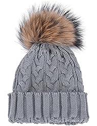 Tongshi Mujeres Invierno ganchillo Sombrero de piel de lana de punto Beanie Raccoon casquillo caliente (Gris)