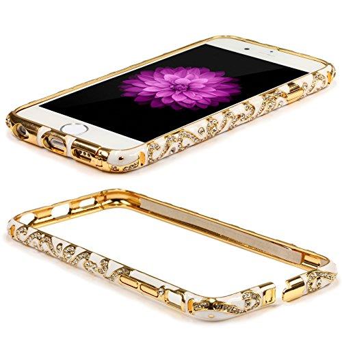 Original UrCover® Apple iPhone 6 Schutz Hülle Aluminium Bumper Diamond Zubehör Hülle Case Cover Alu Cover Metal Weiß Weiß