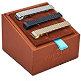Set de 3 Pc Pasador de Corbatas 5.4 cm Pisacorbatas, Tono Plateado, Dorado y Negro Textura en Caja de Regalo