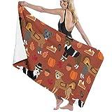 Pitbull Thanksgiving Cute Dog Dogs Turkey Holiday Fall Autumn Rust Large Towel Blanket