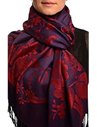 Large Burgundy Red Roses On Navy Blue Pashmina Feel With Tassels - Red Pashmina Floral Scarf