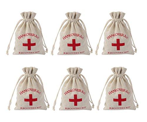 Astra Gourmet 24 Stück Hangover Kit Taschen, Recovery Kit Survival Kit, Erste Hilfe Gastgeschenke Junggesellen-Taschen, rotes Kreuz Baumwolle & Musselin-Taschen, Hochzeits-Willkommens-Taschen, Ecru