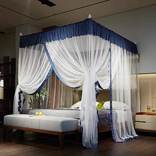 SNOLEK Moskitonetz - Princess Wind Palace Netze Dreitürige Edelstahlhalter in kräftigem Blau 1,8 m Bett