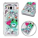 Samsung Galaxy S8 Plus/S8+ Hülle, JINCHANGWU Durchsichtiges TPU-Gel-Stoßfänger-Silikon-Schlagfestes Schutz-Luxus Funkelnder Bling Glitter-flüssiger Quicksand (Hund)