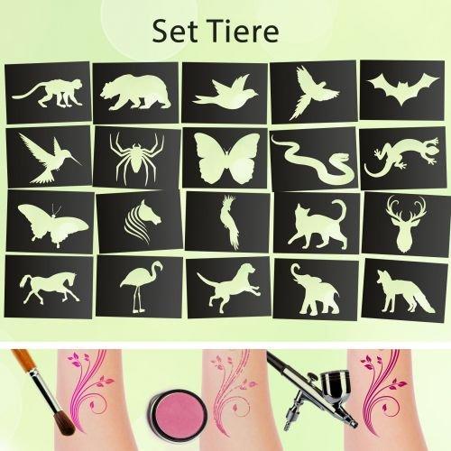 Tattoo Schablonen SET Tiere (20 Stück) Selbstklebend Kinderschminken Airbrush