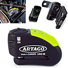 Artago 30X5 Anti-Theft Disc Lock with Alarm 120db High Range and Support for Ducati Monster and Diavel, ø14 Double Closure, Sra and Sold Secure Gold, Bunker Selection