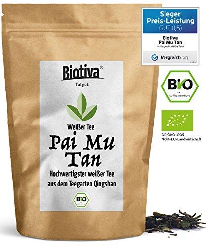 Weißer Tee Pai Mu Tan (Bio,100g) *VERGLEICH.ORG PREIS-LEISTUNGS-SIEGER 2017* I 100% Bio-Qualität - handgepflückt I Weich, duftig und aromatisch I Fairbiotea-zertifiziert für nachhaltigen Teeanbau und faire Arbeitsbedingungen I Weisser Tee ist reich an Antioxidantien