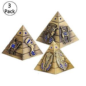 3 Stück Metallstatue, Metall Ägyptische Pyramide Modell Figur Statue für Haus Büro Deko (S/M/L), Vintage Bronze Pyramide…