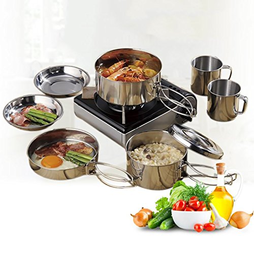 Juning 8 Piece/Set Camping 18/10 Kochgeschirr, Hiking Picnic Cookware Cooking Set für 2-3 Person Camping, Ideal for Hiking /Backpacking