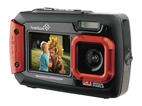Ivation Appareil Photo numérique sous-Marine Antichoc de 20MP et numérique avec Double écran LCD A Tout Couleur. Entièrement Imperméable et étanche jusqu'à 30,50m (10ft) Rouge