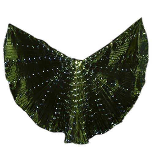 Brawdress Damen LED-Licht Isis Flügel Bauchtanz Kostüme | 360 Grad Große Schmetterling - Verstellbarem Sticks Professionelle Tanzen Requisiten ()