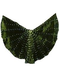Dxlta LED Light Isis Wings para Mujeres - Trajes de Danza del Vientre 360 Grados Sticks Performance Dancing Supplies Props