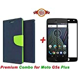 Goelectro Moto G5s Plus (COMBO OFFER) Flip Cover Case Wallet Style For Moto G5s Plus ( Blue:green ) + 2.5D Curved 3D Edge To Edge Full Screen Tempered Glass Mobile Screen Protector - ( Black )