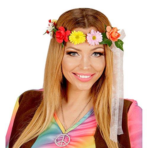 (NET TOYS Haarband Blumen Hippie Style Kopfschmuck bunt Blumenhaarband Blüten Flower Power Haarschmuck Blumenkranz Kopfband 60er Jahre Kleidung Kostüm)