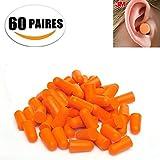 IHRKleid Ultra Weiche Gehörschutzstöpsel von Schaum-Material, Einweg-Gehörschutzstöpsel mit 32db NRR, ein Paar Ohrstöpsel pro Kissenpaket, 60 Paar pro Tasche, Orange