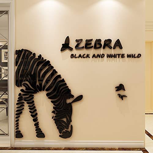 GWXLDWALL Wall Sticker 3D Wallpaper Wall Sticker Specchio Acrilico Smontabile di Arte di DIY della Decalcomania del Vinile Home Decor Zebra Linea