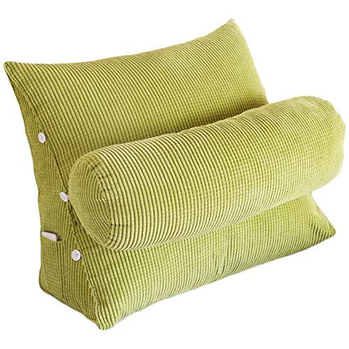 VERCART Kissen Rückenkissen Lesen Kopfkissen Nackenrolle Wedge Pillow Hals für Sofa Bett Rückenlehne Keilkissen Keilförmiges Stützkissen Weiches Erwachsene Grün