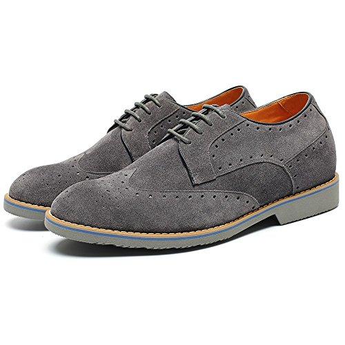 CHAMARIPA Chaussure à Talonnette Grandissante Brogues Soulier Rehaussante Lacet Soulier 6cm Plus grand Gris