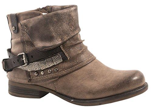 Elara Damen Biker Boots | Metallic Prints Schnallen | Nieten Stiefeletten Lederoptik | Gefüttert F275-Khaki-39