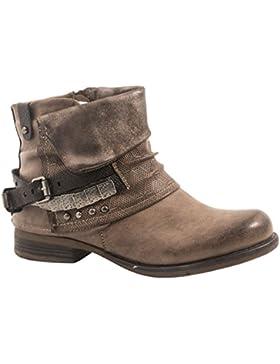 Elara Damen Biker Boots | Metallic Prints Schnallen | Nieten Stiefeletten Lederoptik | Gefüttert