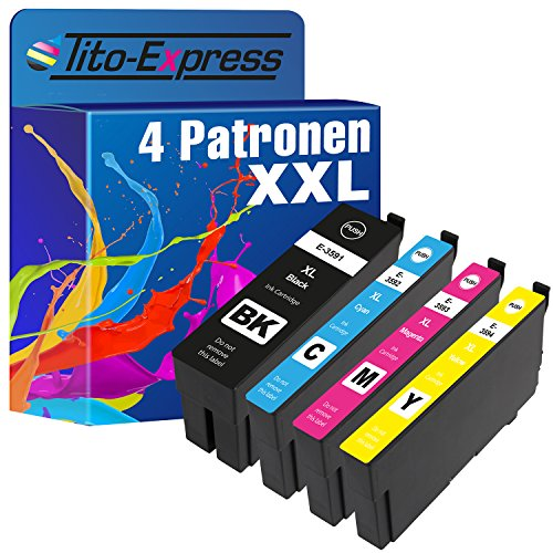 Cartucce d'inchiostro PlatinumSeries 4 XXL TE3591-TE3594 Compatibile con Epson WorkForce Pro WF-4720DWF WF-4725DWF WF-4730DTWF WF-4735DTWF WF-4740DTWF | 50ml neri ciascuno, colore 25ml ciascuno