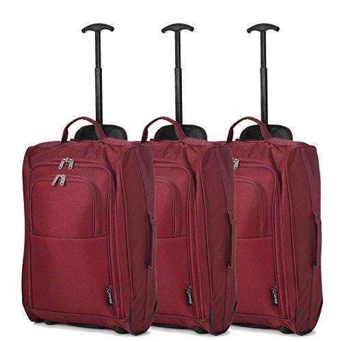 Lot de 3 Super léger de voyage bagages Cabine Valise Wheely Sacs Sac à Roulettes (du vin)