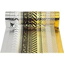 Washi Tape Masking Tape 12er Set Schwarz Gold für Scrapbooking DIY (je Rolle 15mm x 10m)-Très Chic Mailanda