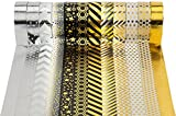 Washi Tape Masking Tape 12er Set Schwarz Gold für Scrapbooking DIY (je Rolle 15mm x 10m)-Très Chic Mailanda